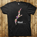 Bird Thongchai T-Shirt  - Feather & Flowers (Black) - Size M