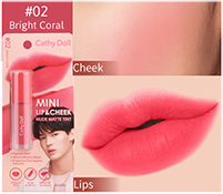 Cathy Doll : Mini Lip & Cheek Nude Matte Tint - No.2 Bright Coral